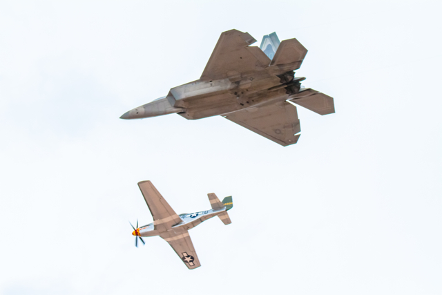 USAF F-22 Raptor and other at Thunder Over Utah, St. George, March 17, 2012 | Photo by Troy Hoskins