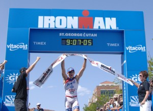 Ben Hoffman wins the title, Ironman St. George, May 5, 2012 | Photo by Todd Tischler, St. George News