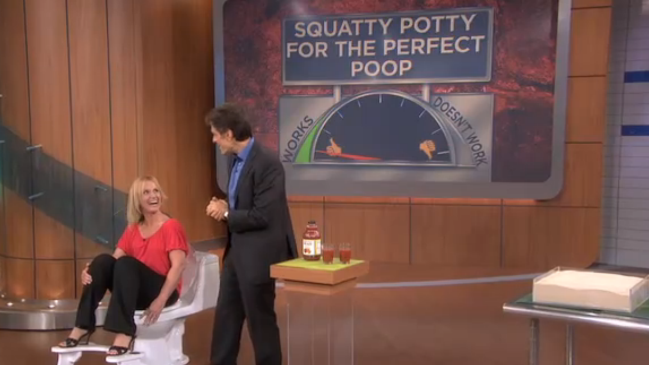 Dr. Oz talks about the Squatty Potty on his show on May ___, 2012. | Photo courtesy of doctoroz.com