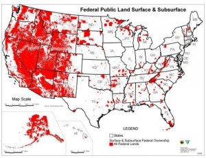 Map detailing the location of public lands (marked in red). | Image courtesy of Arewenotastate.com
