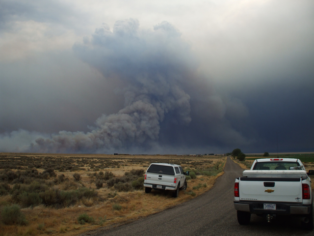 Baboon Fire near Minersville, Utah, started 12:30 p.m. increased to 17,000 acres by 9 p.m., July 12, 2012 | Photo by Nick Howell, Fire Mitigation and Education Specialist, Color Country Interagency Fire Response Team