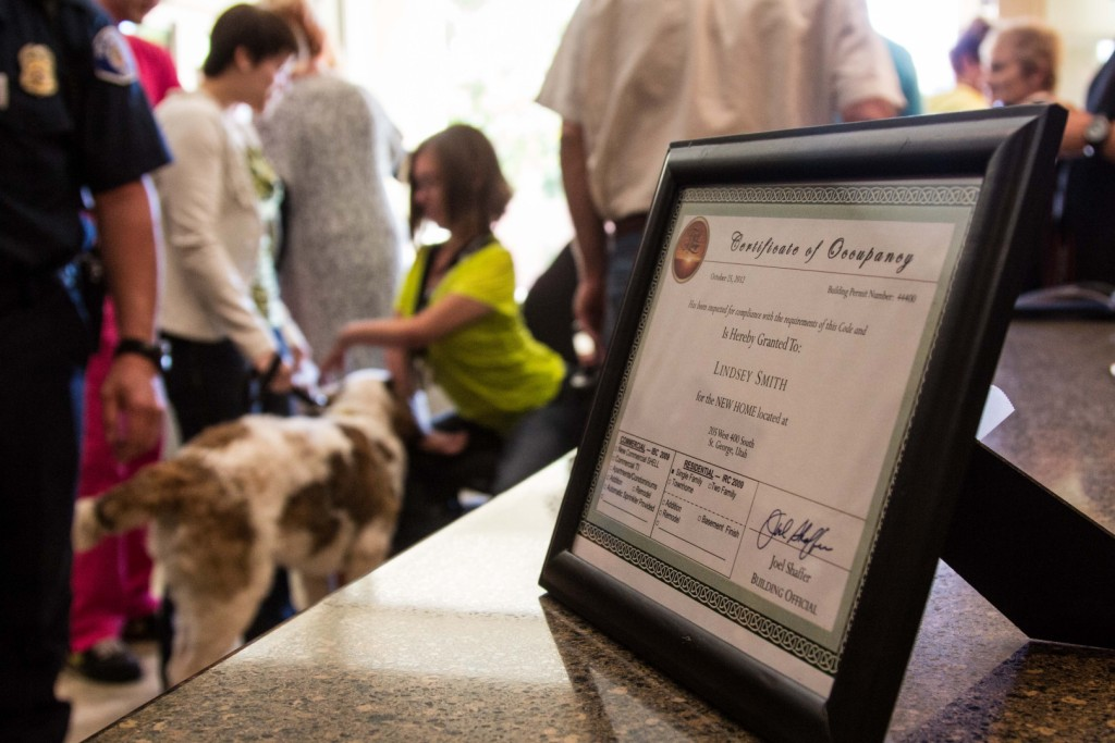 Certifcate of Occupancy displayed at the Home for Lindsey Smith | SUHBA 2012 Care Project