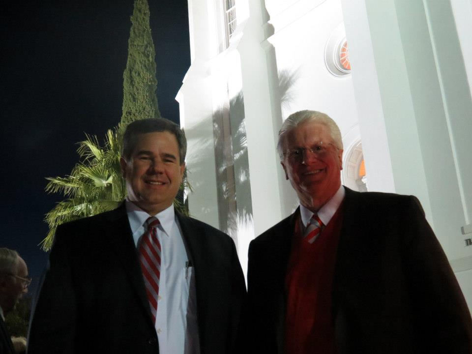 Councilman Jon Pike (L) 2012 Lighting of the LDS Temple annual Christmas ceremony, St. George, Utah