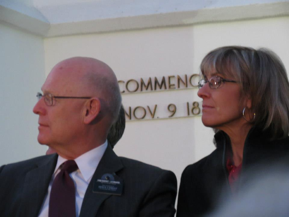 President and Sister Leonard at the at the lighting of the St. George Temple of the Church of Jesus Christ of Latter-day Saints