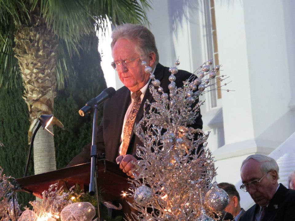 Dr. Craig Booth 2012 Lighting of the LDS Temple annual Christmas ceremony, St. George, Utah