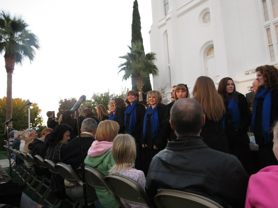 Dixie High School singers 2012 Lighting of the LDS Temple annual Christmas ceremony, St. George, Utah
