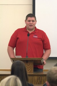 Student Alumni President Austin Fackler presents at name-change discussion with students, Dixie State College of Utah