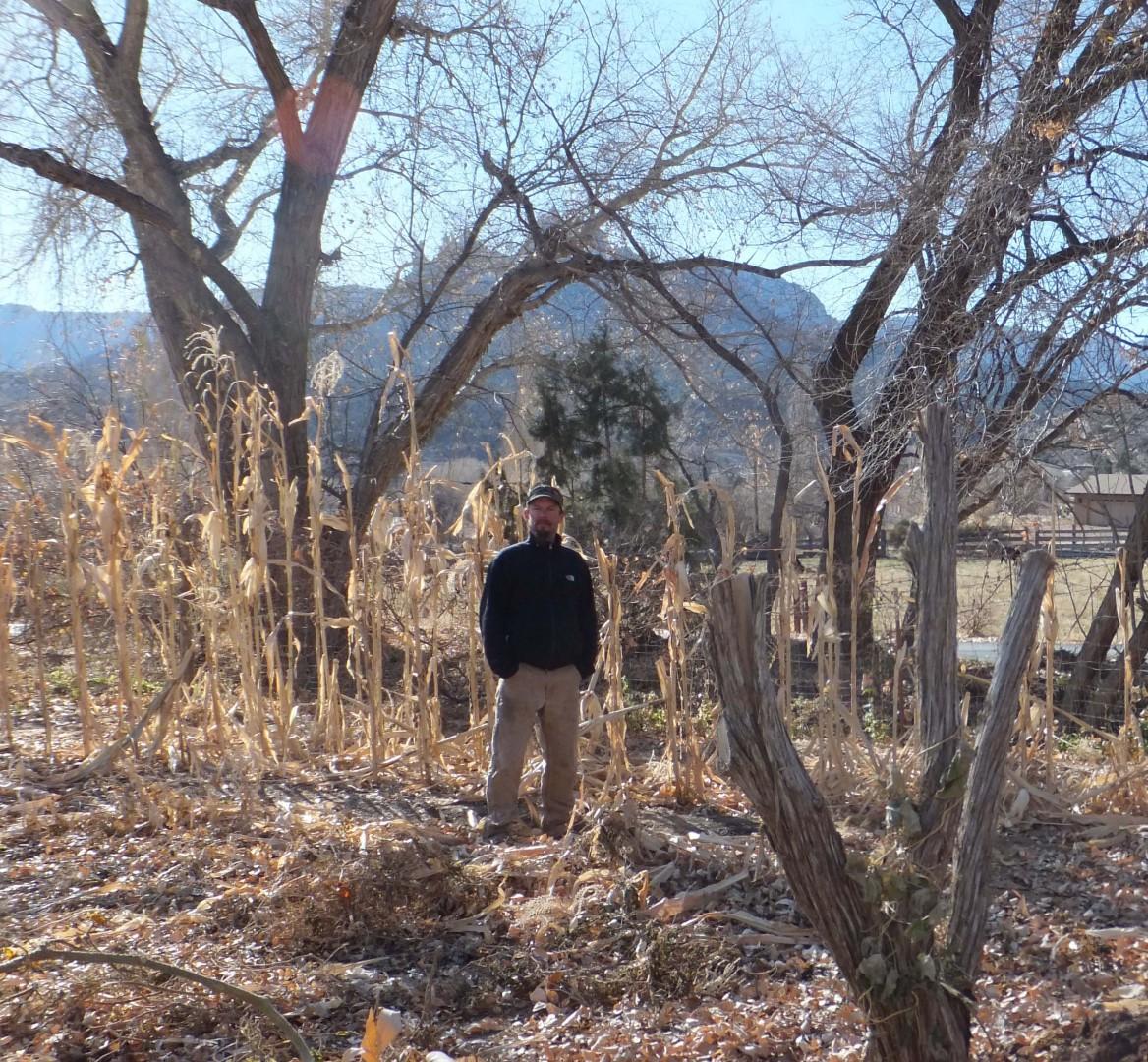 Todd Chamberlin in his garden in Springdale, Utah