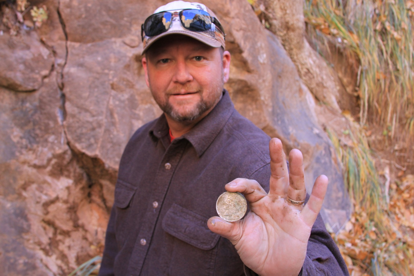 Visitor to Zion National Park finds a US Silver (Peace) dollar dated 1923 in a crevasse in the rocks in The Narrows Nov. 24 2012