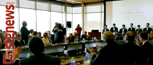 Utah Regent Rev. France Davis (back to camera) and Dixie State College of Utah Chair of board of trustees, Steven Caplin, (face to camera),