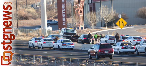 Utah Highway Patrol arrest a vehicle and its occupants involved in a high speed chase originating in Nevada, crossing through the Arizona Strip and into Utah on Interstate 15 between 7:30 and 8 a.m., vehicle spiked at Utah milepost 2, and brought to a halt at milepost 6. St. George, Utah, Jan. 30, 2013 | Photo by Chris Caldwell, St. George News