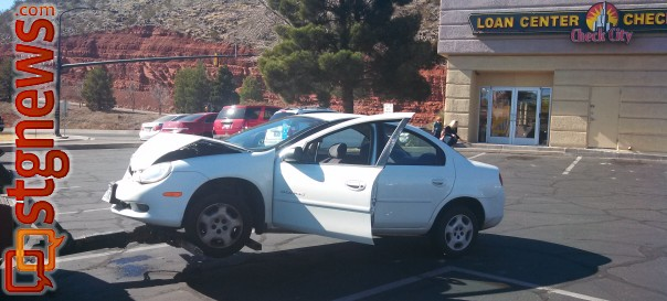 A vehicle involved in a three-vehicle accident at St. George Boulevard and Bluff Street. The driver of the vehicle was cited for following too close along with other violations, St. George, Utah, Feb. 15, 2013 | Photo by Mori Kessler, St. George News