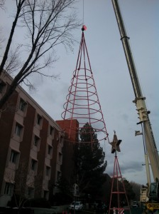 The Light and Life removed removed from the 400 East Campus of Dixie Regional Medical Center after over 20 years of use. It will be replaced with a new tree in the summer, St. George, Utah, Feb. 21, 2013 | Photo by St. George News