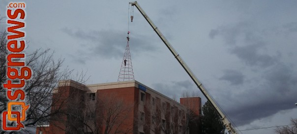 The Tree of Light and Life removed removed from the 400 East Campus of Dixie Regional Medical Center after over 20 years of use. It will be replaced with a new tree in the summer, St. George, Utah, Feb. 21, 2013 | Photo by St. George News