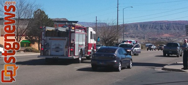 A woman was hit by an SUV while crossing 3050 East in Washington. She was taken to the hospital with non-life threatening injuries, Washington, Utah, Feb. 25, 2013 | Photo taken by Mori Kessler, St. George News