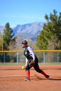 Sydnie Wilson pitching at the Desert Spring Championships, St. George, Utah, Feb. 16, 2013 | Photo by Dave Amodt, St. George News
