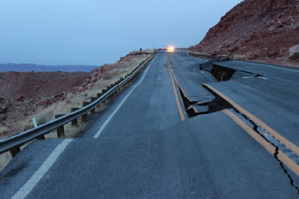 "A portion of Highway 89 broke apart due to a ""geologic event,"" Coconino County, Ariz., Feb. 20, 2013 