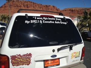 """I won this beater from the B92.1 & Executive Auto Group."" Photo by Sarafina Amodt, St. George News, Feb. 26, 2013."