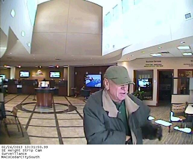 Surveillance photo of the suspect involved in the Mountain America Credit Union robbery, Cedar City, Utah, Feb. 26, 2013 | Photo courtesy of the Cedar City Police Department
