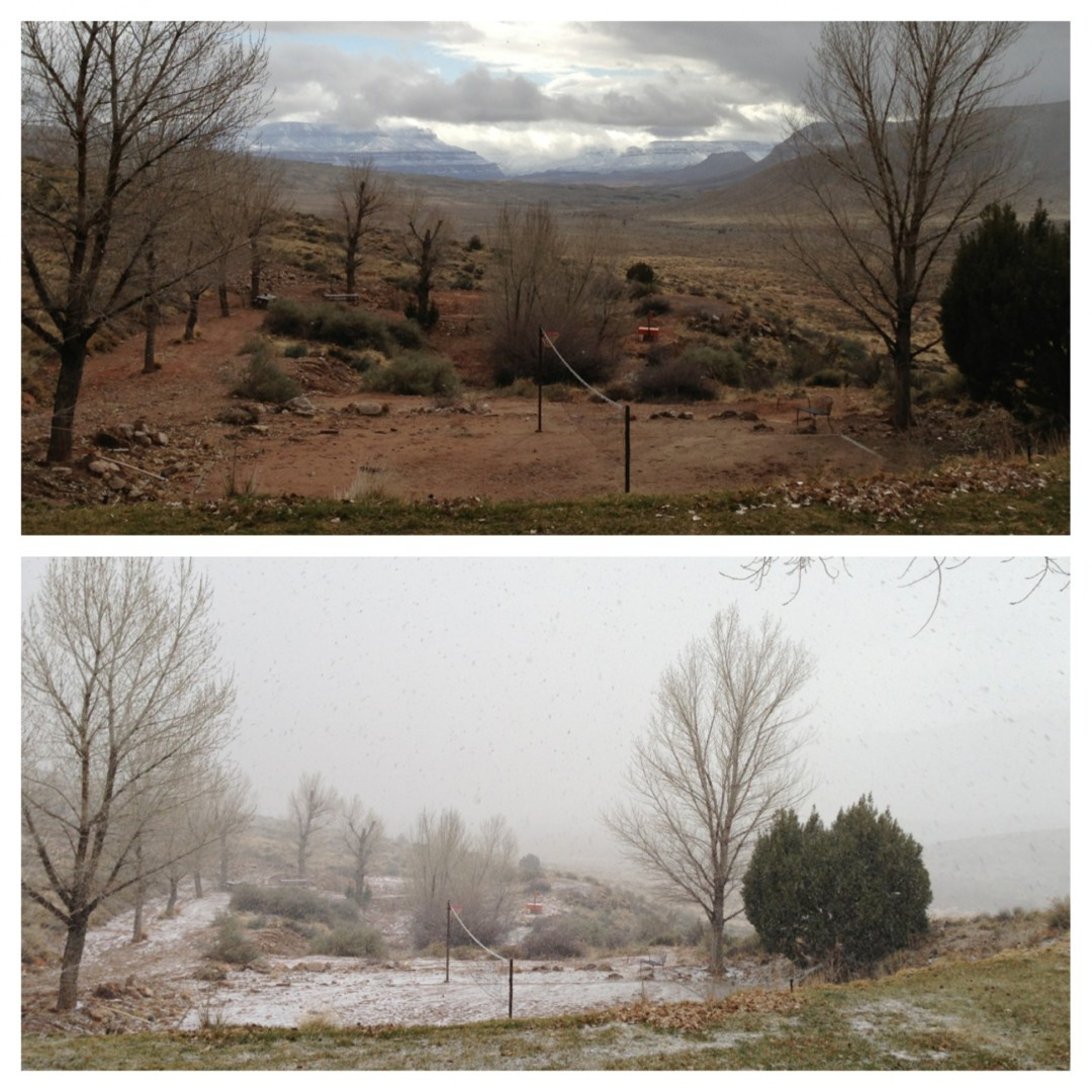 "Heather Lewis describes the before and after photos: ""At Bar 10 ranch looking south towards Grand Canyon, watching a desert storm come through. Five minutes elapsed between the two photos shown. Arizona Strip, Ariz. 
