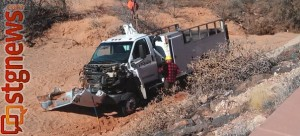 Santa Clara/Ivins Public Safety responded to a rollover on Snow Canyon Parkway. No injuries were reported, Ivins, Utah, Feb. 25, 2013 | Photo by Mori Kessler, St. George News