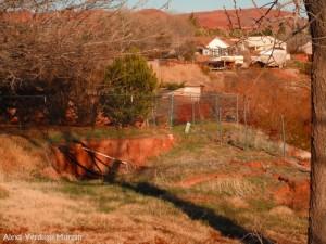 Collapsing backyard of 1656 Cinnamon Circle in Santa Clara Heights, Santa Clara, Utah, March 12, 2013 | Photo by Alexa Verdugo Morgan, St. George News