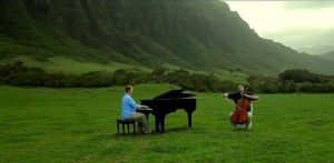 The Piano Guys filming a music video in Hawaii | Photo courtesy of The Piano Guys