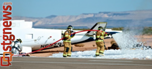 A simulated emergency involving a helicopter and small passenger jet hitting each other at the St. George Municipal Airport involved multiple first responder agencies, St. George, Utah, March 27, 2013 | Photo by Dave Amodt, St. George News