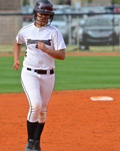 PV catcher Elaine Asaasa in this file photo, St. George, Utah, Mar. 26, 2013 | Photo by Dave Amodt, St. George News
