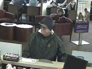 Surveillance photo of a  suspect possibly  involved in multiple bank robberies in Utah and Idaho, February 2013 | Photo courtesy of the Federal Bureau of Investigation