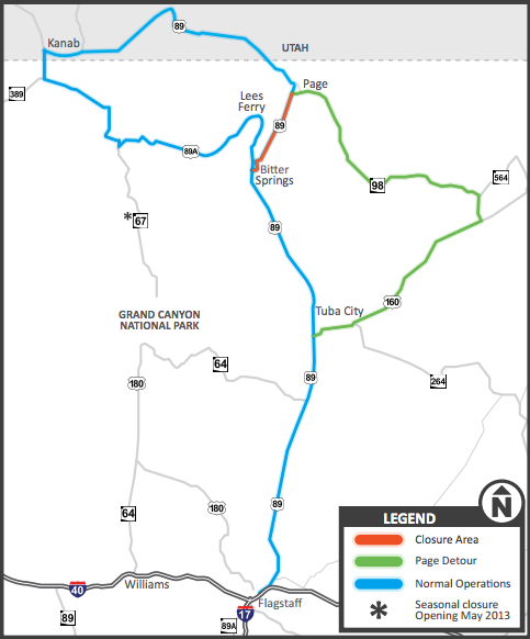Us Route 89 Near Page Ariz Closed Indefinitely St George News - Us-route-89-map