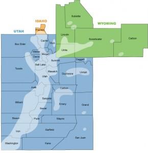 Questar Gas service area map