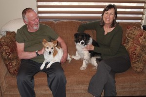 Molly (left) and Bella with their forever family, location and date unknown | Photo courtesy of Because Animals Matter