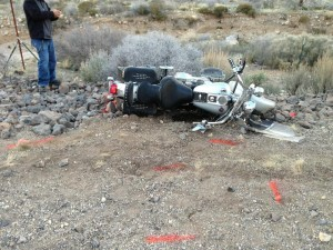 Motorcycle accident on Old Highway 91, Ivins, Utah, March 3, 2013 | Photo by Marty Lane for St. George News