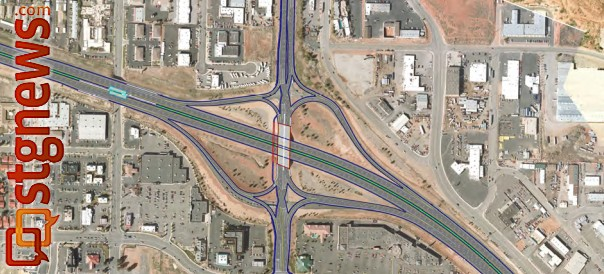 An example of how the proposed diverging diamond interchange may look. A final design has yet to be determined | Graphic courtesy of Utah Department of Transportation