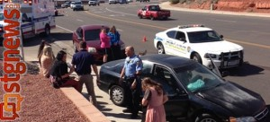 A triple-vehicle accident on Red Hills Parkway impacted traffic and sent one person the hospital, St. George, Utah, March 6, 2013 | Photo by Shane Brinkerhoff, St. George News