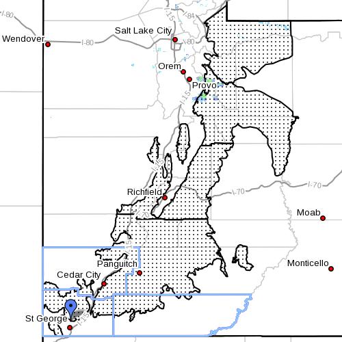 Dots denote affected area. Radar time 5:50 p.m. Utah, April 7, 2013 | Image courtesy of National Weather Service
