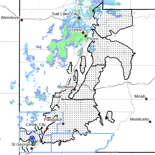 Affected area 1: Dots denote affected area. Radar time 7:10 a.m. Utah, April 8, 2013 | Image courtesy of National Weather Service