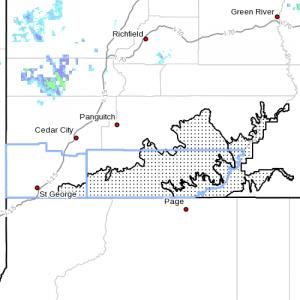 Dots denote affected area. Radar time 8:20 p.m. Utah's Southwestern Utah, April 15, 2013 | Image courtesy of National Weather Service