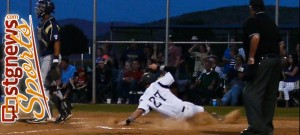 Zac Ivie scores Friday night, Snow Canyon at Desert Hills, St. George, Utah, April 26, 2013   Photo by Sara Amodt, St. George News