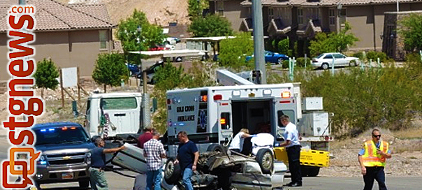 Semitrailer-automobile accident at 3424 River Road, St. George, Utah, April 25, 2013 | Photo by Dave Amodt, St. George News