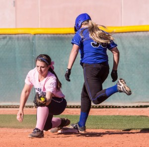 McKenzee Langston gloves the ball to record the last out Tuesday a end a perfect region season for the Lady Warriors, Dixie at Snow Canyon, St. George, Utah, April 30, 2013   Photo by Chris Caldwell, St. George News