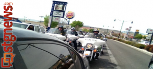 Endurance ride: Las Vegas Metro Police stop by St. George, Utah, April 4, 2013 | Photo by Sarafina Amodt, St. George News