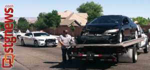 Traffic collision at 450 N 2230 E, St. George, Utah, April 28, 2013 | Photo by Jason Little, St. George News