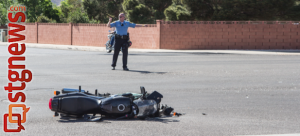 Car and motorcycle collision at the intersection of Riverside Drive and River Road, St. George, Utah, April 28, 2013 | Photo by Chris Caldwell, St. George News