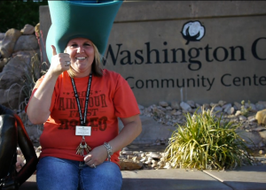 Wendi Bulkley wearing a 10-gallon hat for the western theme of Cotton Days, Washington City, Utah, April 29, 2013 | Photo by Sarafina Amodt, St. George News