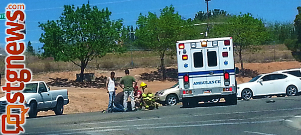 An auto-motorcycle accident Friday after at the intersection of Red Cliffs Drive and Mall Drive temporarily impact traffic and sent one to the hospital, St. George, Utah, April 12, 2013 | Photo by Brett Barrett, St. George News