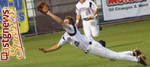 PV shortstop Ty Johnston makes a diving attempt at a pop fly Friday night, Snow Canyon at Pine View, St. George, Utah, April 12, 2013 | Photo by Chris Caldwell, St. George News