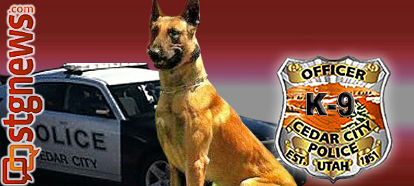 Image composite by Brett Barrett, St. George News, photo of K9 Pajko courtesy of the Cedar City Police Department