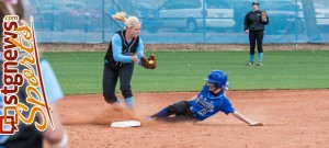 DHS's Shelby Holt slides in safe Tuesday afternoon, Canyon View at Dixie, St. George, Utah, April 9, 2013   Photo by Dave Amodt, St. George News